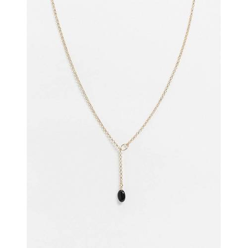 ASOS DESIGN – Halskette in Gold mit schwarzem Obsidian No Size