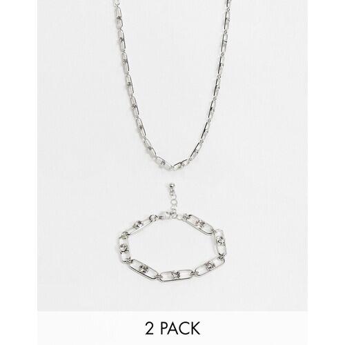 ASOS DESIGN – Halskette undArmband in Silber mit Gliederketten- und Kristaldesign im 2er-Pack No Size