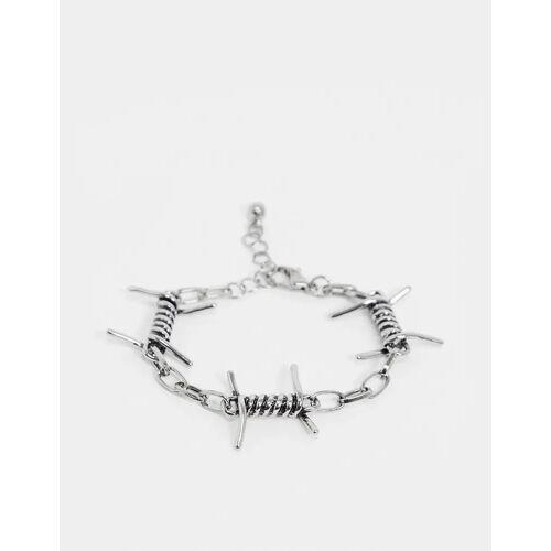 ASOS DESIGN – Kettenarmband mit Stacheldrahtdetail in Silber No Size