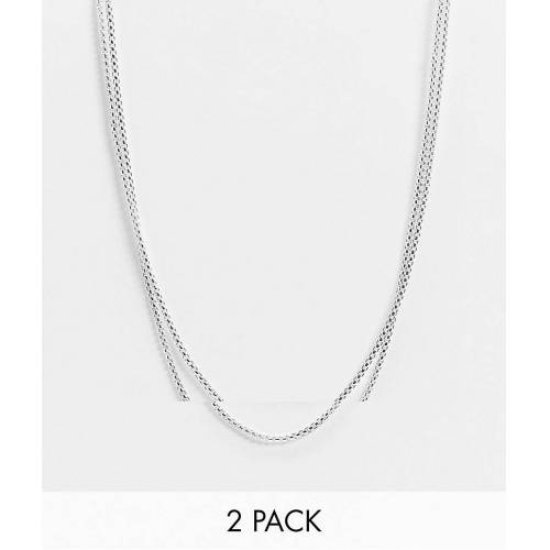 ASOS DESIGN – Mehrreihige, schmale Venezianerkette in Silber No Size