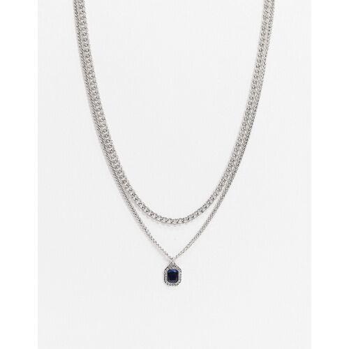 ASOS DESIGN – Midnight – Silberfarbene Halskette mit Kristallanhänger No Size