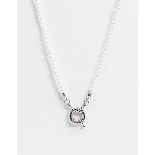ASOS DESIGN – Perlenkette in Silber mit Ringverschluss No Size