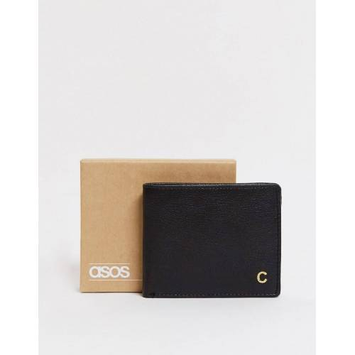 ASOS DESIGN – Personalisierte schwarze Ledergeldbörse mit Buchstaben C No Size