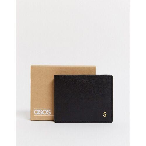 ASOS DESIGN – Personalisierte schwarze Ledergeldbörse mit Buchstaben S No Size