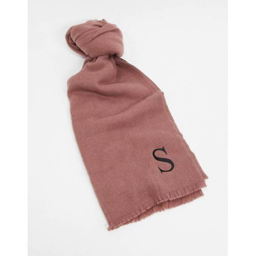 """ASOS DESIGN – Personalisierter Schal mit der Initiale """"S"""" in Rosa no size"""
