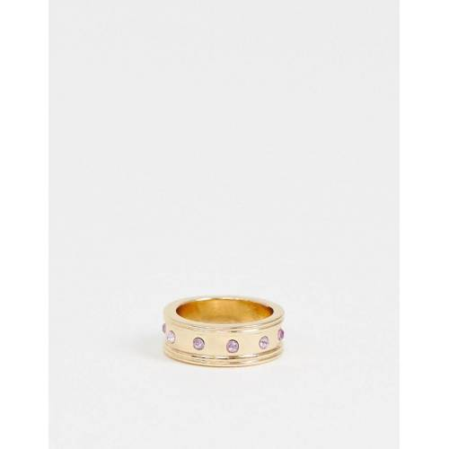 ASOS DESIGN – Ring in Gold mit violetten Kristallen M