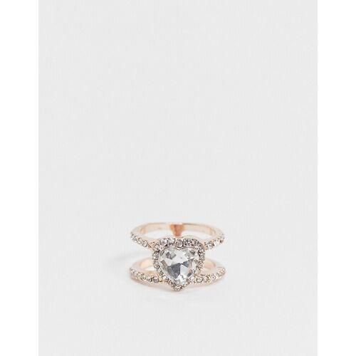 ASOS DESIGN – Ring in Roségold mit Kristallherz-Kupfer 38-40