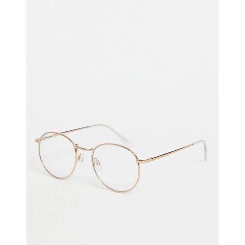 ASOS DESIGN – Runde Brille mit Klarglas und Metallfassung in Roségold-Kupfer One Size