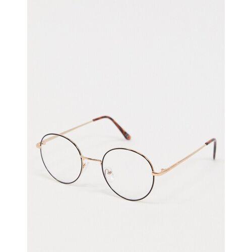 ASOS DESIGN – Schwarze Brille mit klaren, runden Gläsern und goldfarbenem Nasensteg One Size