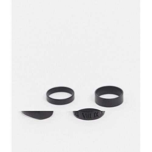 ASOS DESIGN – Set mit Ringen in Mattschwarz XL/XXL