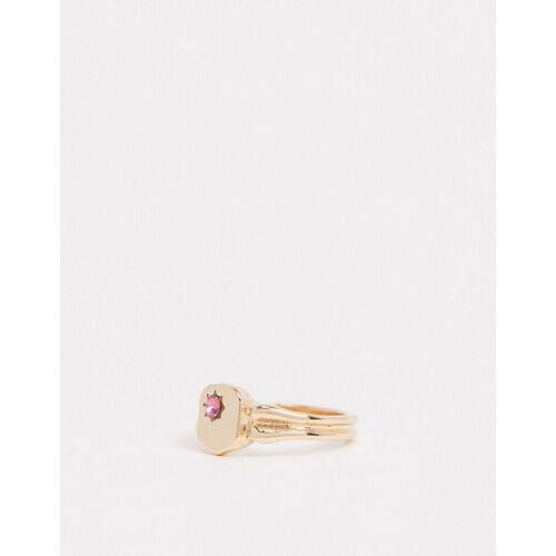 ASOS DESIGN – Siegelring in Gold mit rosa Stein L