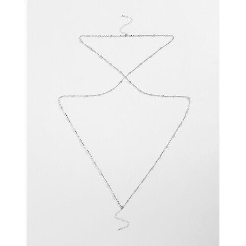 ASOS DESIGN – Silberfarbene Körperkette mit abgestuften Kristallsteinen No Size