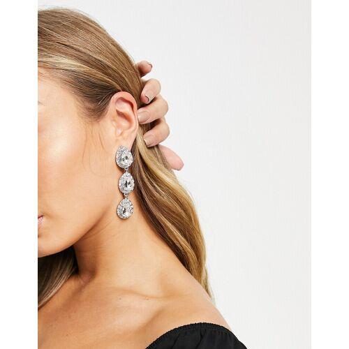 ASOS DESIGN – Silberfarbene Ohrringe mit tropfenförmigen Kristallanhänger No Size