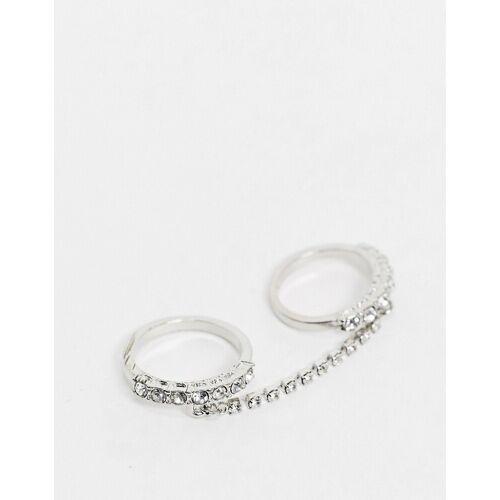 ASOS DESIGN – Silberfarbene Ringe mit Kristallen und Kettenverbindung L