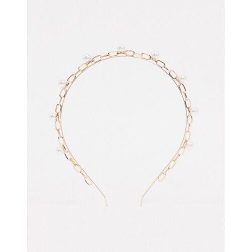 ASOS DESIGN – Stirnband mit Perlen in Goldton No Size