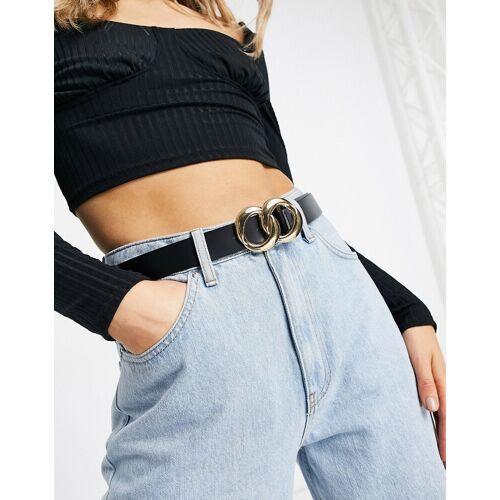 ASOS DESIGN – Taillen- und Hüftgürtel aus Leder mit Doppelkette-Schwarz M