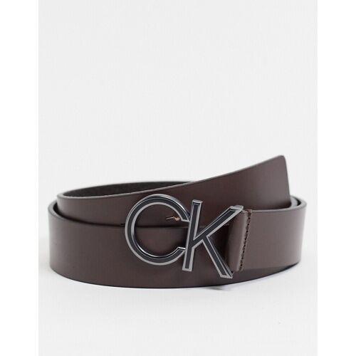 Calvin Klein – Brauner Gürtel mit CK-Logo, 35 mm 85cm