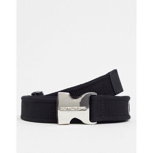 Calvin Klein Jeans – Schwarzer Gürtel mit Logoband und Clipverschluss 85cm