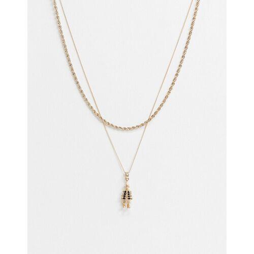 Chained & Able – Zweisträngige Halskette mit Clown-Anhänger in Gold No Size