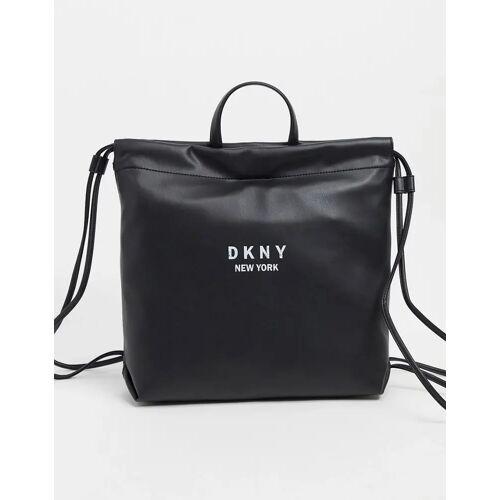 DKNY – Schwarzer Rucksack mit Kordelzug One Size