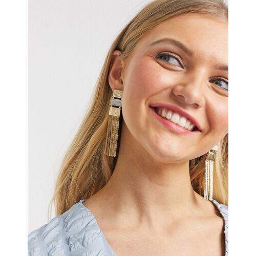 Glamorous – Goldfarbene Ohrringe mit Fransen-Design No Size