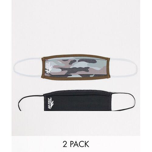 Hi-Tec – Gesichtsmasken in Military-Muster/Schwarz im 2er-Pack One Size