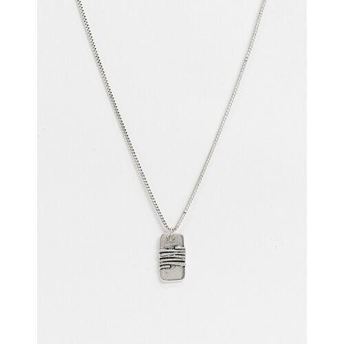 Icon Brand – Halskette in Silber mit gewickeltem Hundemarken-Anhänger No Size