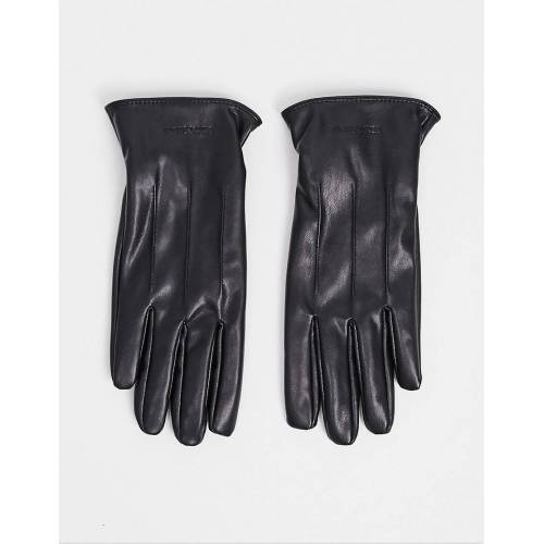 Jack & Jones – Handschuhe aus Kunstleder-Schwarz M/L