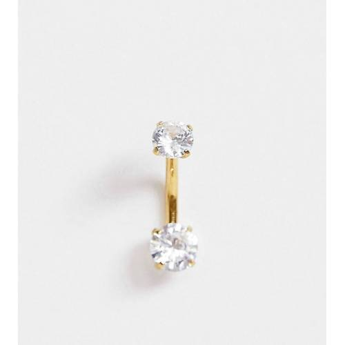 Kingsley Ryan – Bauchnabelpiercing mit Kristall in Gold-Silber No Size