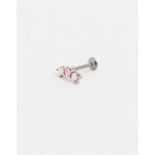 Kingsley Ryan – Labret – Einzelner Ohrring mit rosa Kristallen-Silber No Size