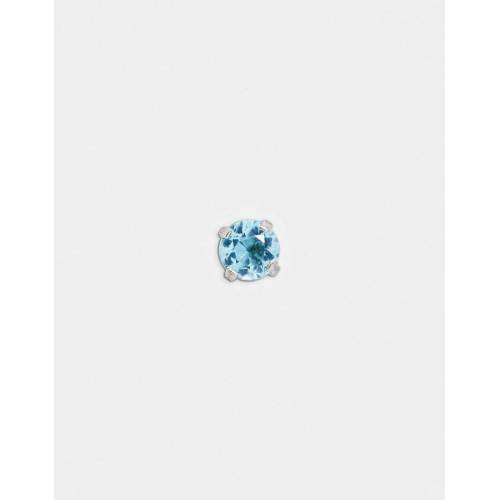 Kingsley Ryan – Labret – Einzelner Ohrstecker mit blauem Kristall-Silber No Size