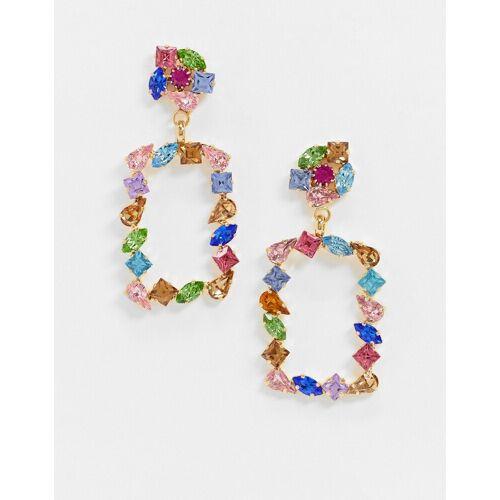 Krystal London – Mehrfarbige, echteckige Hängeohrringe mit Swarovski-Kristallen No Size