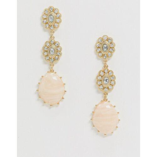 Liars & Lovers – Hängeohrringe in Gold mit rosafarbenem Kristalldetail No Size