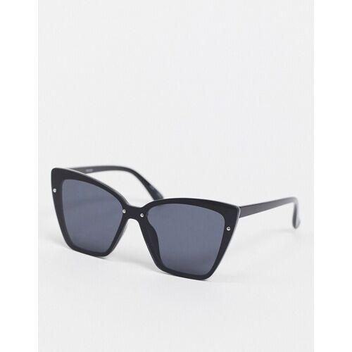 Pieces – Eckige Katzenaugen-Sonnenbrille in Schwarz No Size