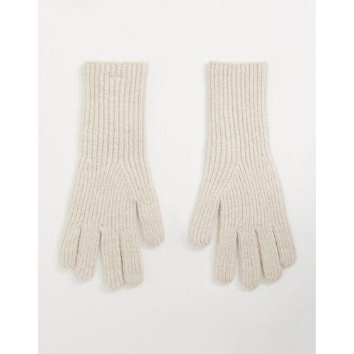 Pieces überlange Handschuhe in Mokka-Braun No Size