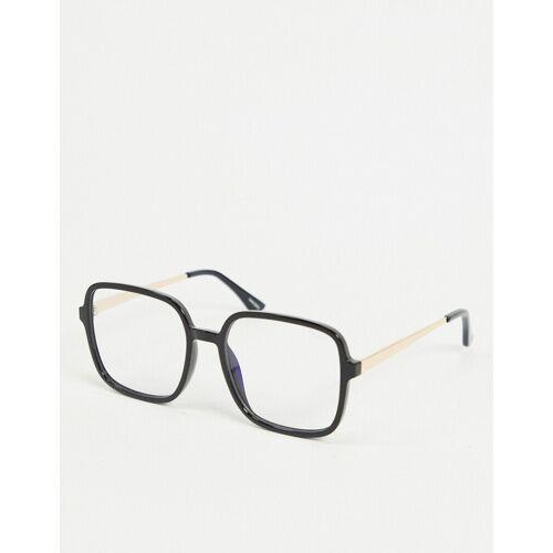 Quay Australia – 9-5 – Eckige Brille mit Blaulichtfilter in Schwarz No Size
