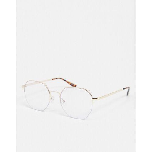 Quay Australia – Bossy – Sechseckige Brille mit Blaulichtfilter in Gold No Size