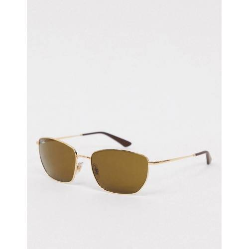 Ray-Ban – Sechseckige Sonnenbrille in Gold No Size