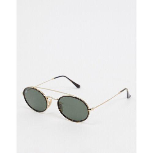 Ray-Ban Rayban – Schmale, ovale Sonnenbrille mit Steg in Schwarz und Gold No Size