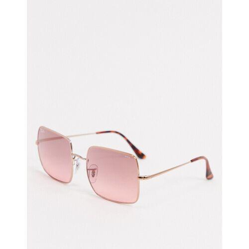 Ray-Ban Rayban – Übergroße, eckige Sonnenbrille in Gold und Rosa No Size