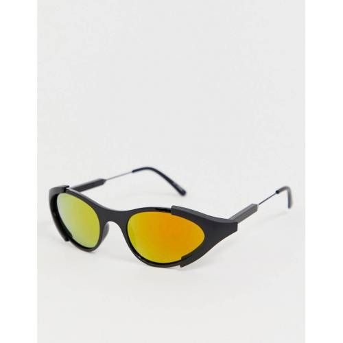 Spitfire – Runde Wrap-around-Sonnenbrille in Schwarz No Size