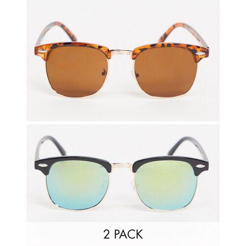SVNX – 2er-Set Retro-Sonnenbrillen in Schildpatt-Optik und Blau No Size