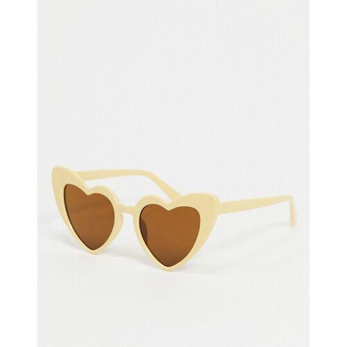 SVNX – Herzförmige Sonnenbrille in Beige-Neutral One Size