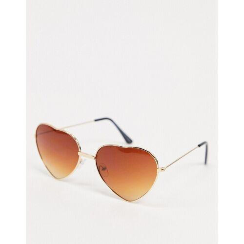 SVNX – Herzförmige Sonnenbrille in Gold One Size