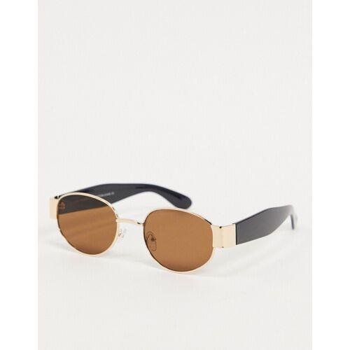 SVNX – Runde Sonnenbrille in Schwarz mit Metallfassung-Gold One Size