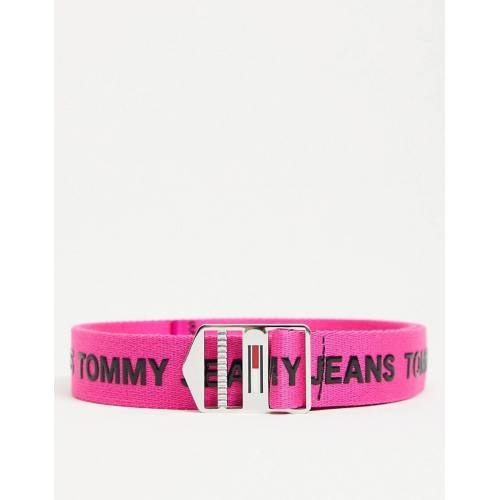 Tommy Jeans – Explorer – Gürtel mit Logo in Rosa 80cm