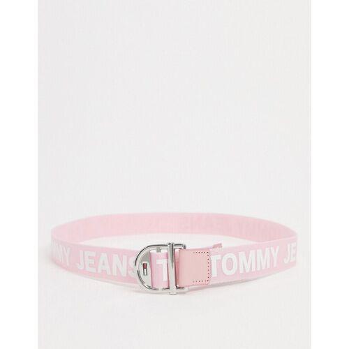 Tommy Jeans – Gürtel in Rosa mit Logostreifen 80cm