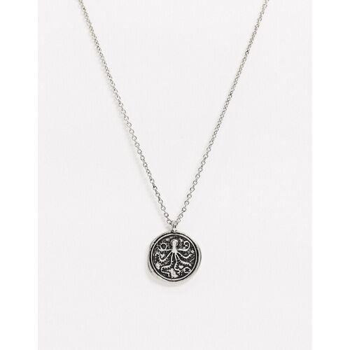 Topman– Halskette in Silber mit Tintenfisch-Münzanhänger No Size