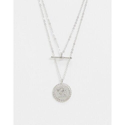 Topshop – Mehrreihige Halskette mit T-Steg und Münze in Silber No Size