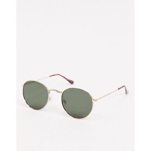 Topshop – Runde Sonnenbrille aus Metall in Gold One Size